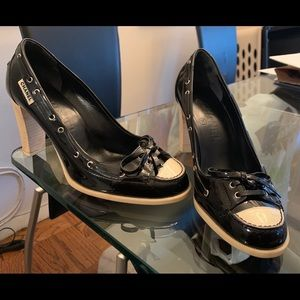 Auth Chanel Patent Leather Logo Heel Loafers